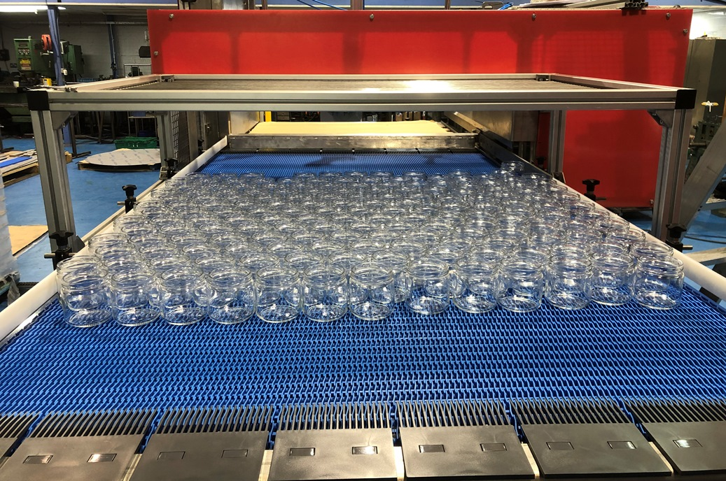 Automated De Palletiser for Glass Jars